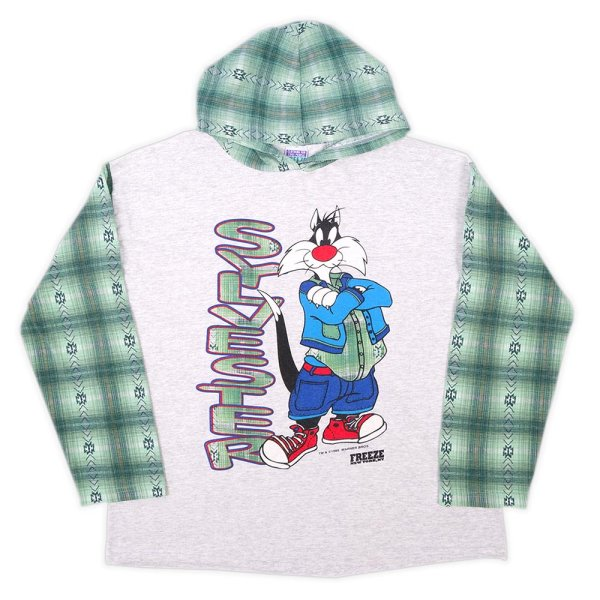 """画像1: 90's Looney Tunes フーディーカットソー """"MADE IN USA / Sylvester"""" (1)"""
