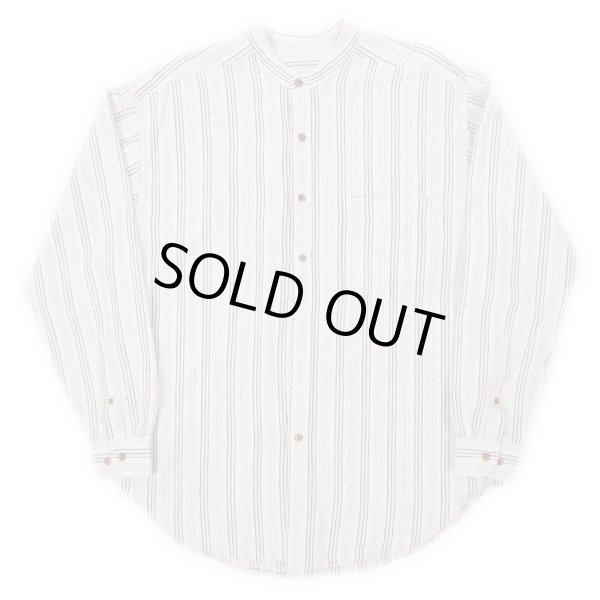 画像1: 90's Eddie Bauer マルチストライプ柄 バンドカラーシャツ (1)