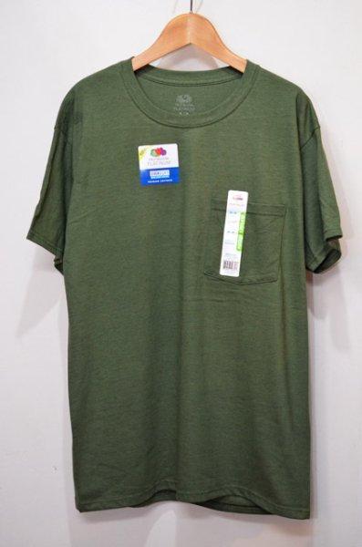 """画像1: 日本未発売 Fruit of the loom ポケット付きTシャツ """"Olive"""" (1)"""