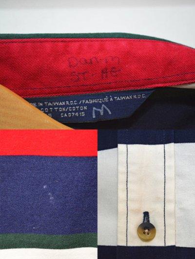 画像1: 90's NAUTICA マルチボーダー柄 ボタンダウンシャツ