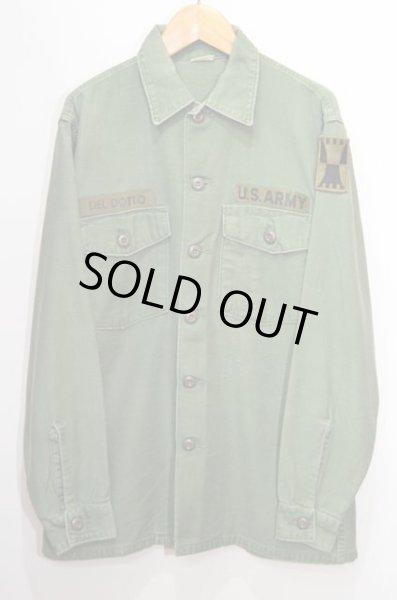画像1: 60's US.ARMY コットンサテン ユーティリティーシャツ (1)