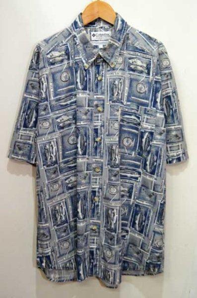 画像1: 02's OLD Columbia S/S 総柄 ボタンダウンシャツ (1)