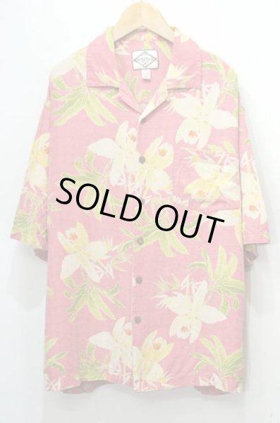 画像1: 90's Three Palm S/S 総柄 オープンカラー シルクシャツ (1)