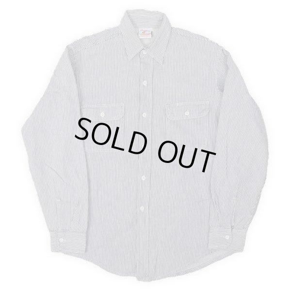 """画像1: 90's Prentiss ヒッコリーストライプ柄 ワークシャツ """"MADE IN USA"""" (1)"""