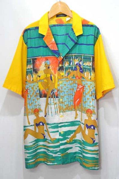"""画像1: 80-90's Bon Homme 総柄 オープンカラーシャツ """"MADE IN USA"""" (1)"""