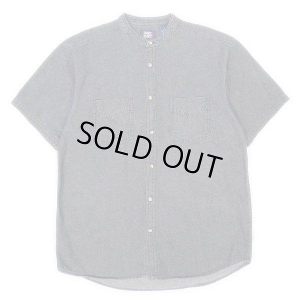 画像1: 90's FADED GLORY ブラックデニム バンドカラーシャツ (1)